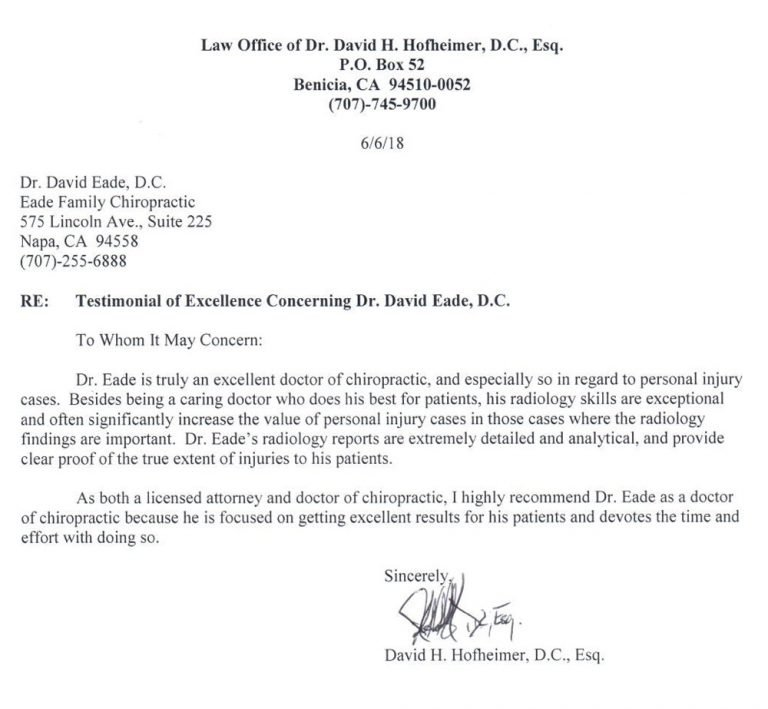 Testimonial for Dr. Eade